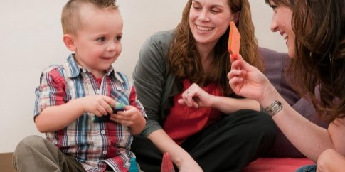 A toddler takes part in early intervention activities at the UW Autism Center. Photo provided by the University of Washington.